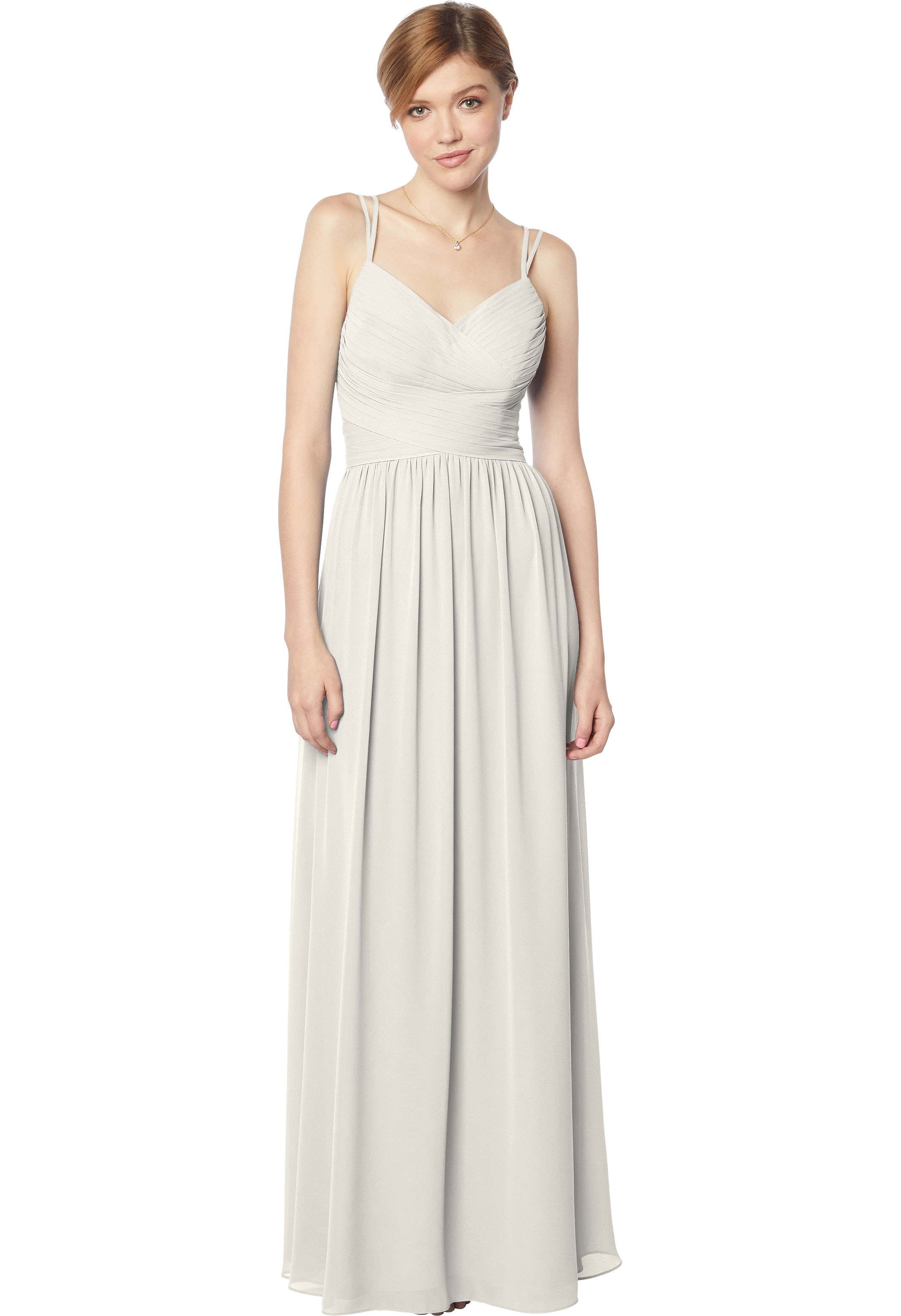 Bill Levkoff ROSEWOOD Chiffon V-neck A-line gown, $218.00 Front