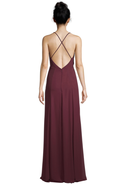 Bill Levkoff WINE Chiffon V-neck A-line gown, $99.00 Back