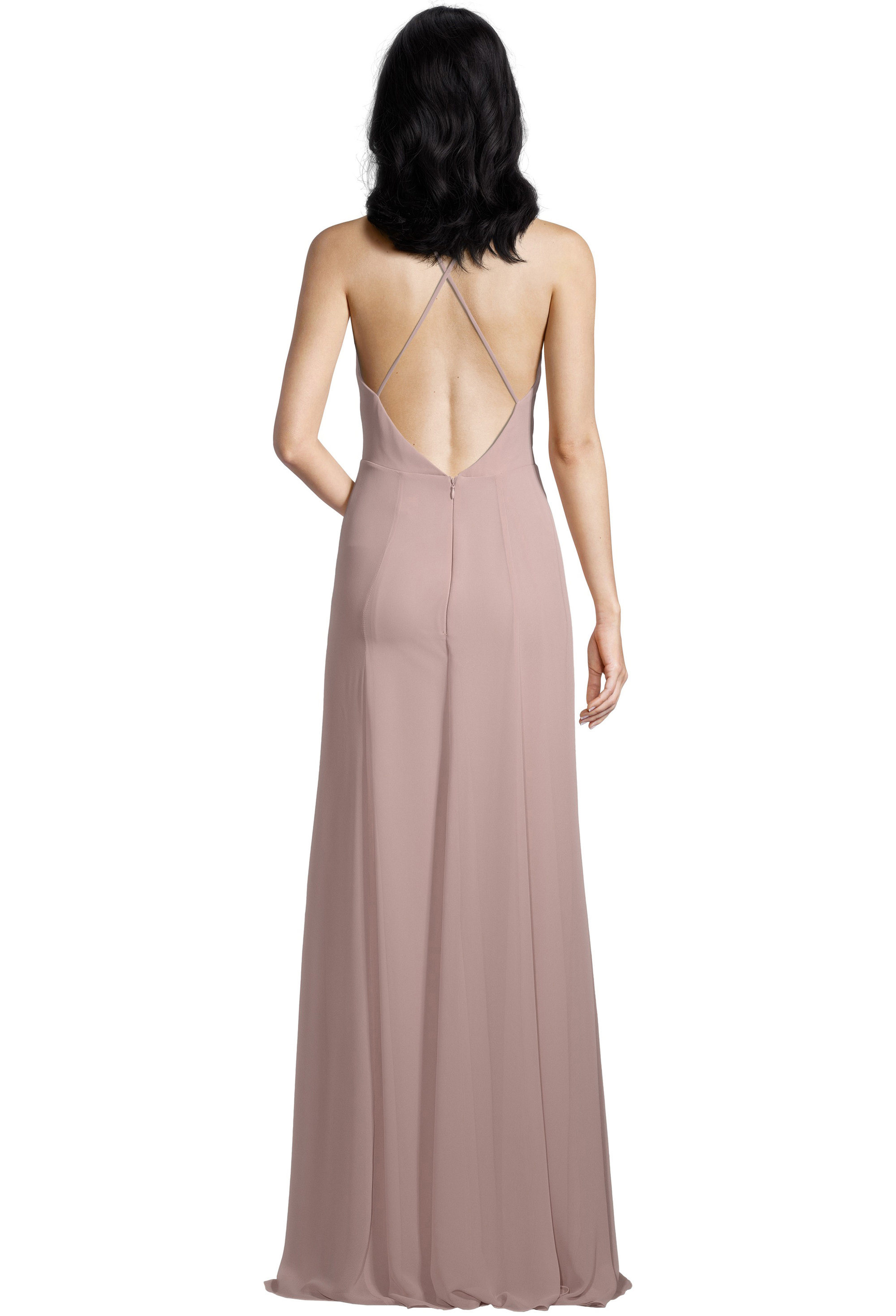 Bill Levkoff FROST ROSE Chiffon V-neck A-line gown, $99.00 Back