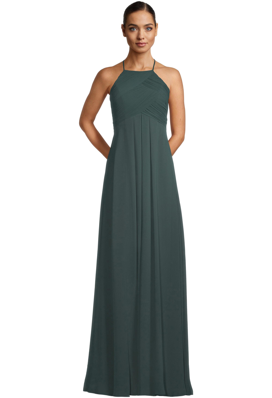 Bill Levkoff EVERGREEN Chiffon Halter A-line gown, $99.00 Front