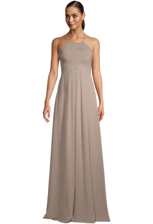 Bill Levkoff CASHMERE Chiffon Halter A-line gown, $99.00 Front