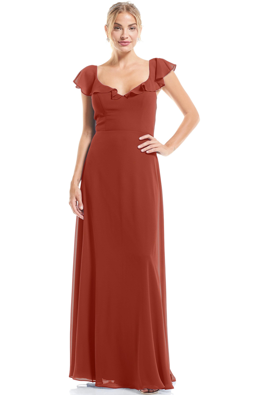 Bill Levkoff RUST Chiffon U-neck A-Line gown, $89.00 Front