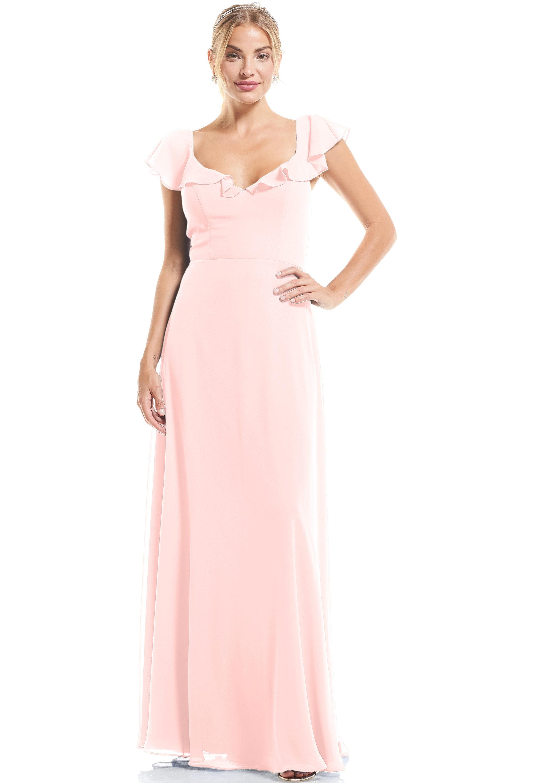 Bill Levkoff PETAL PINK Chiffon U-neck A-Line gown, $89.00 Front