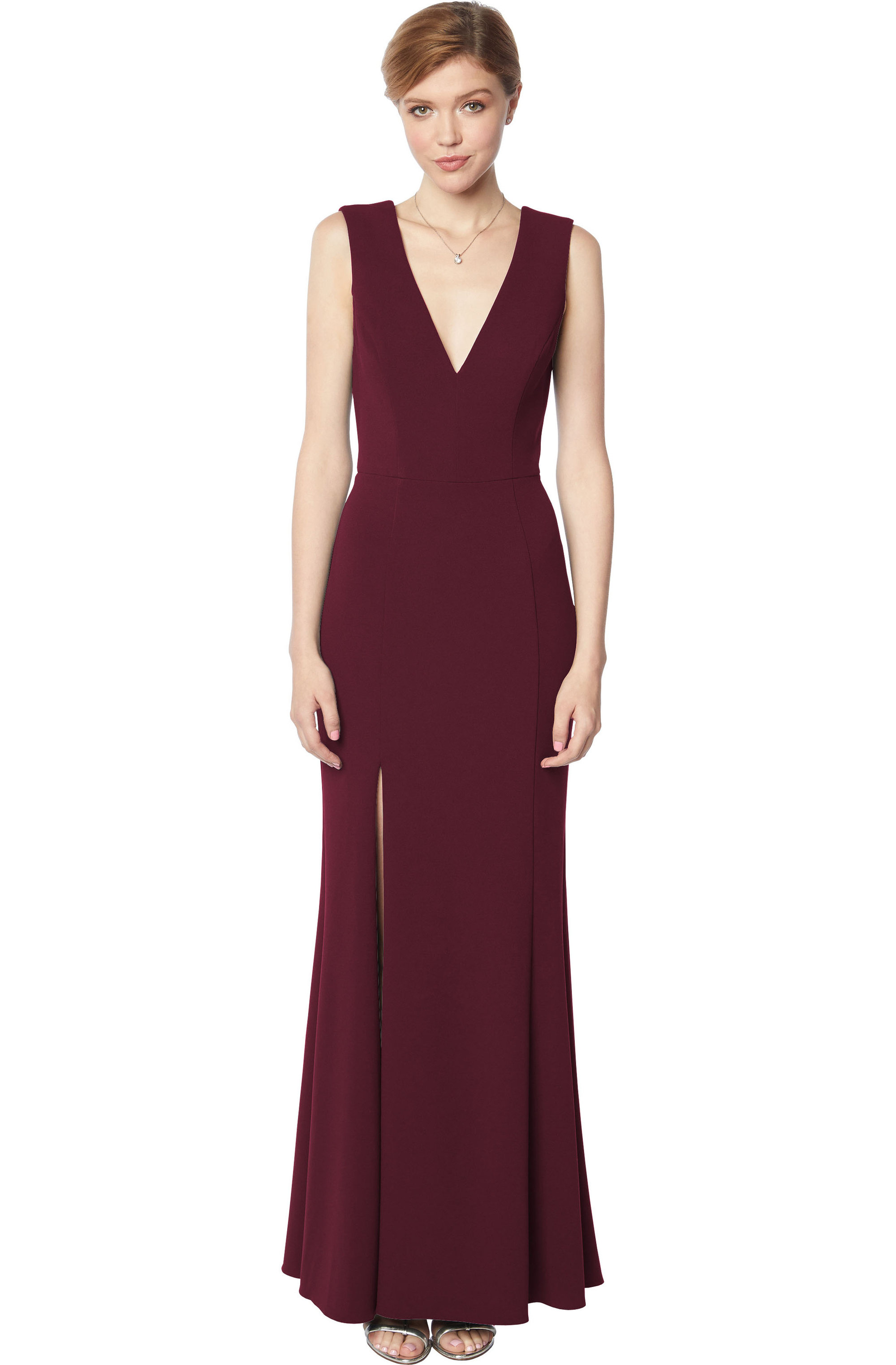 Bill Levkoff WINE Stretch Crepe Sleeveless A-line gown, $210.00 Front