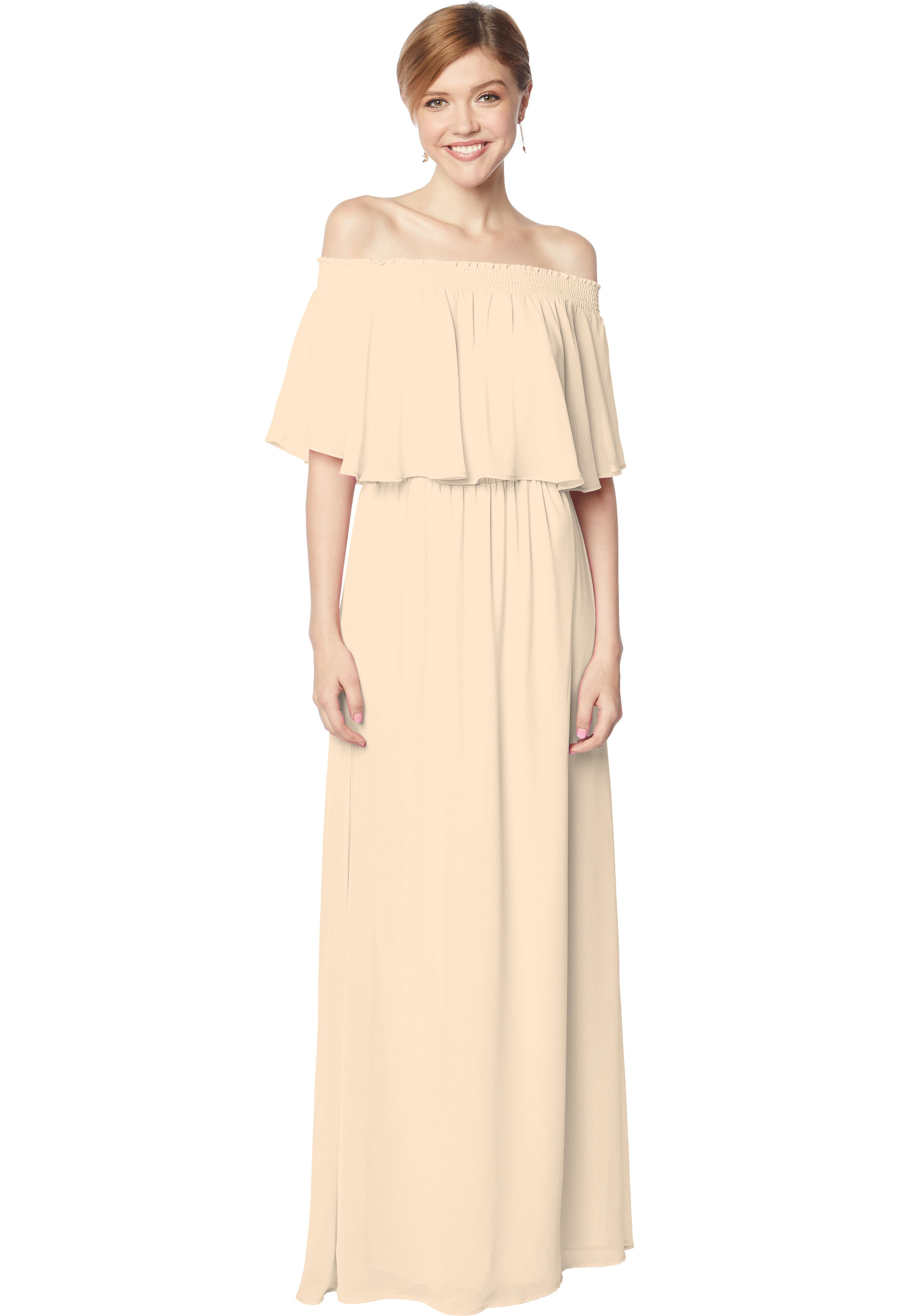 Bill Levkoff CHAMPAGNE Chiffon Off The Shoulder A-line gown, $210.00 Front