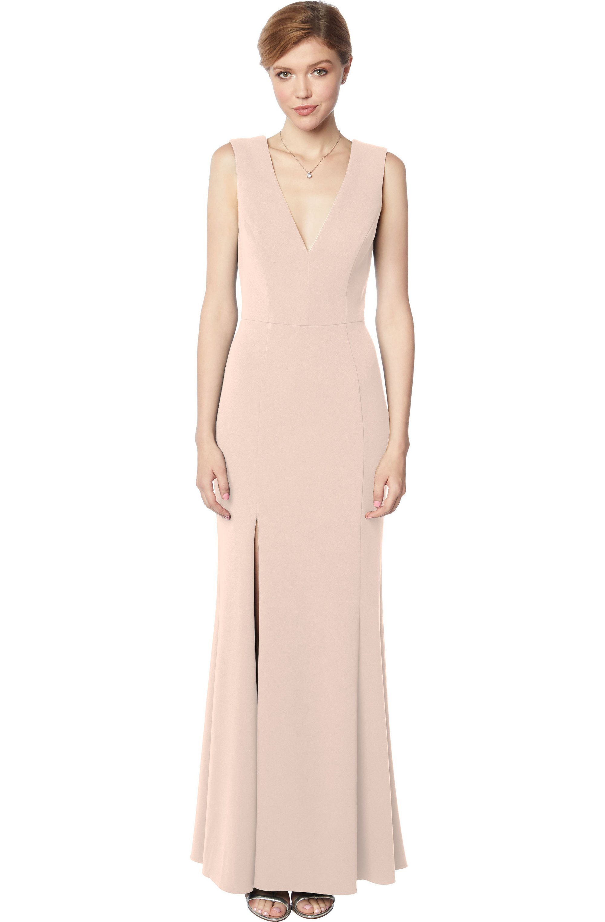 Bill Levkoff NUDE Stretch Crepe Sleeveless A-line gown, $210.00 Front