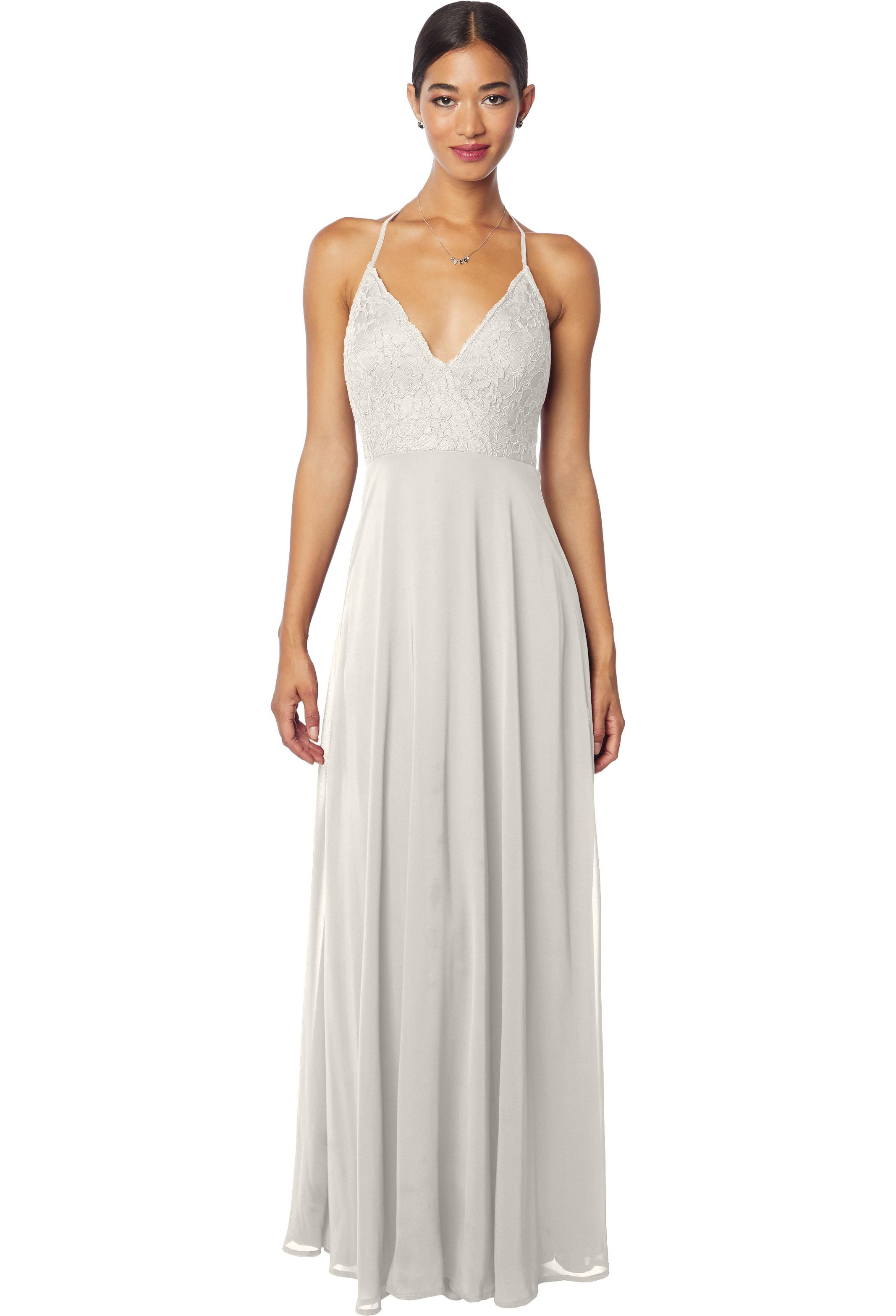 Bill Levkoff DESERT GREY Chiffon V-neck A-line gown, $220.00 Front