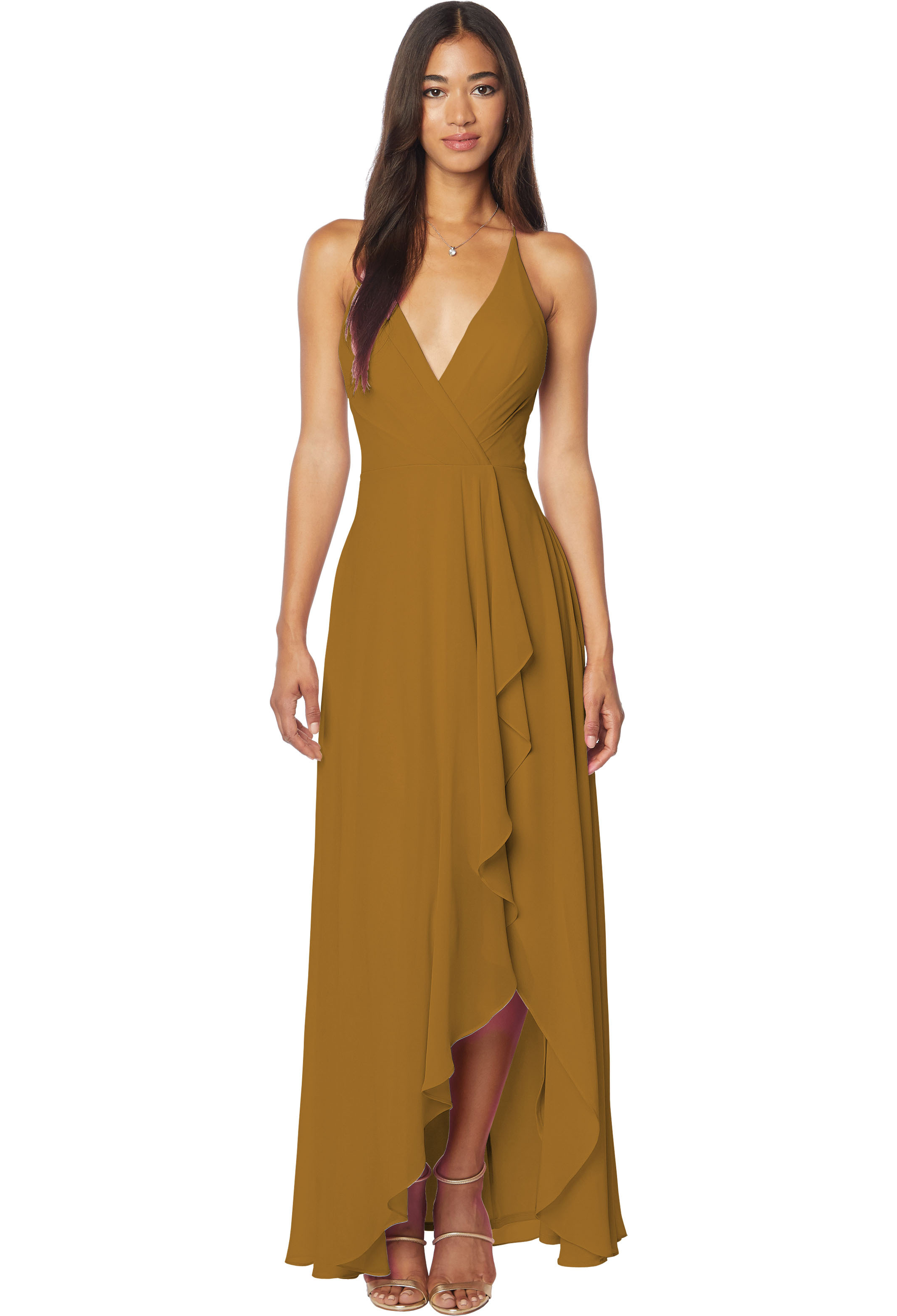 Bill Levkoff GOLD Chiffon V-neck A-line gown, $198.00 Front