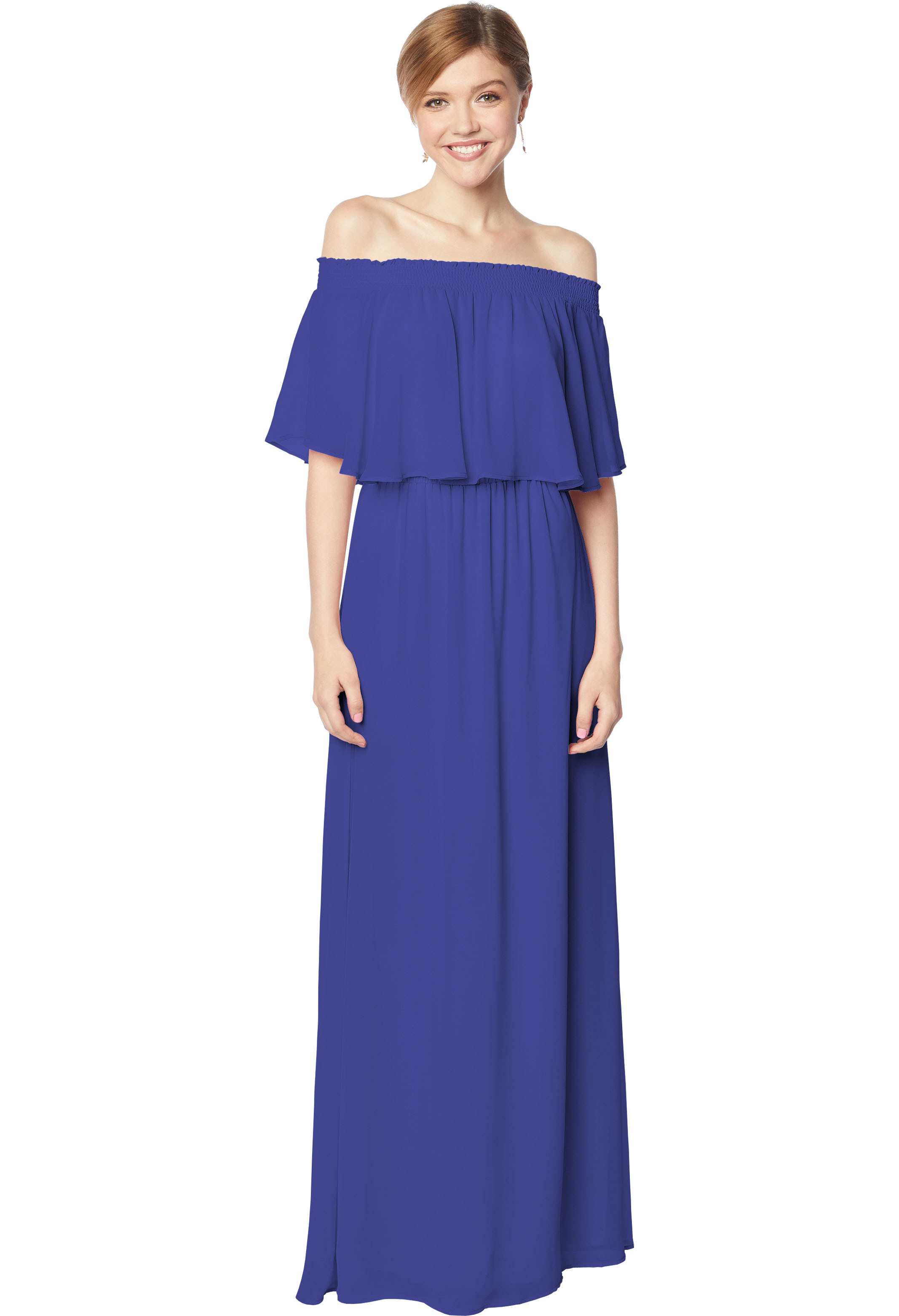 Bill Levkoff MARINE Chiffon Off The Shoulder A-line gown, $210.00 Front
