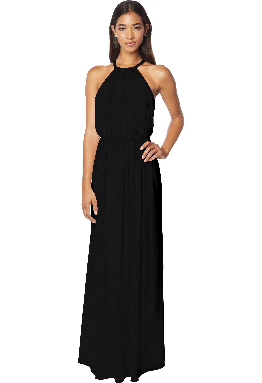 Bill Levkoff BLACK Chiffon Halter A-line gown, $210.00 Front