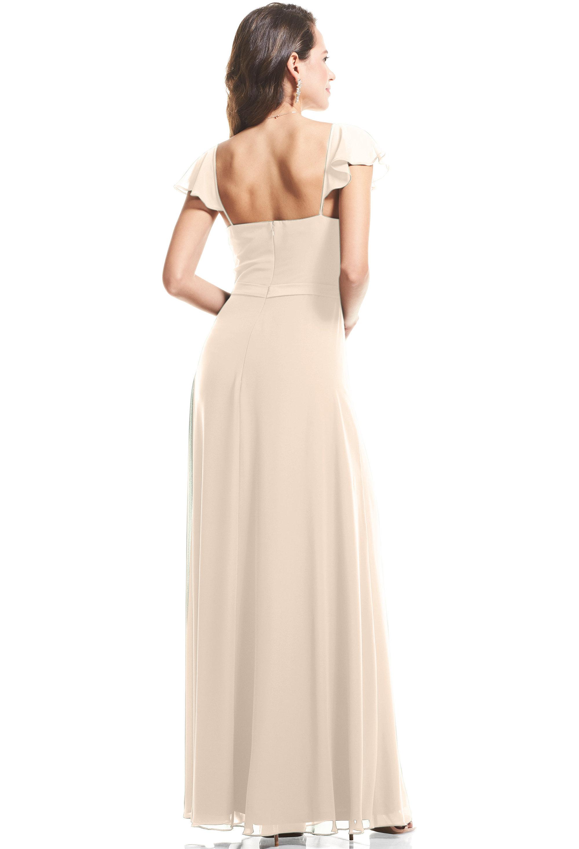 Bill Levkoff CHAMPAGNE Chiffon Cap Sleeve A-Line gown, $89.00 Back