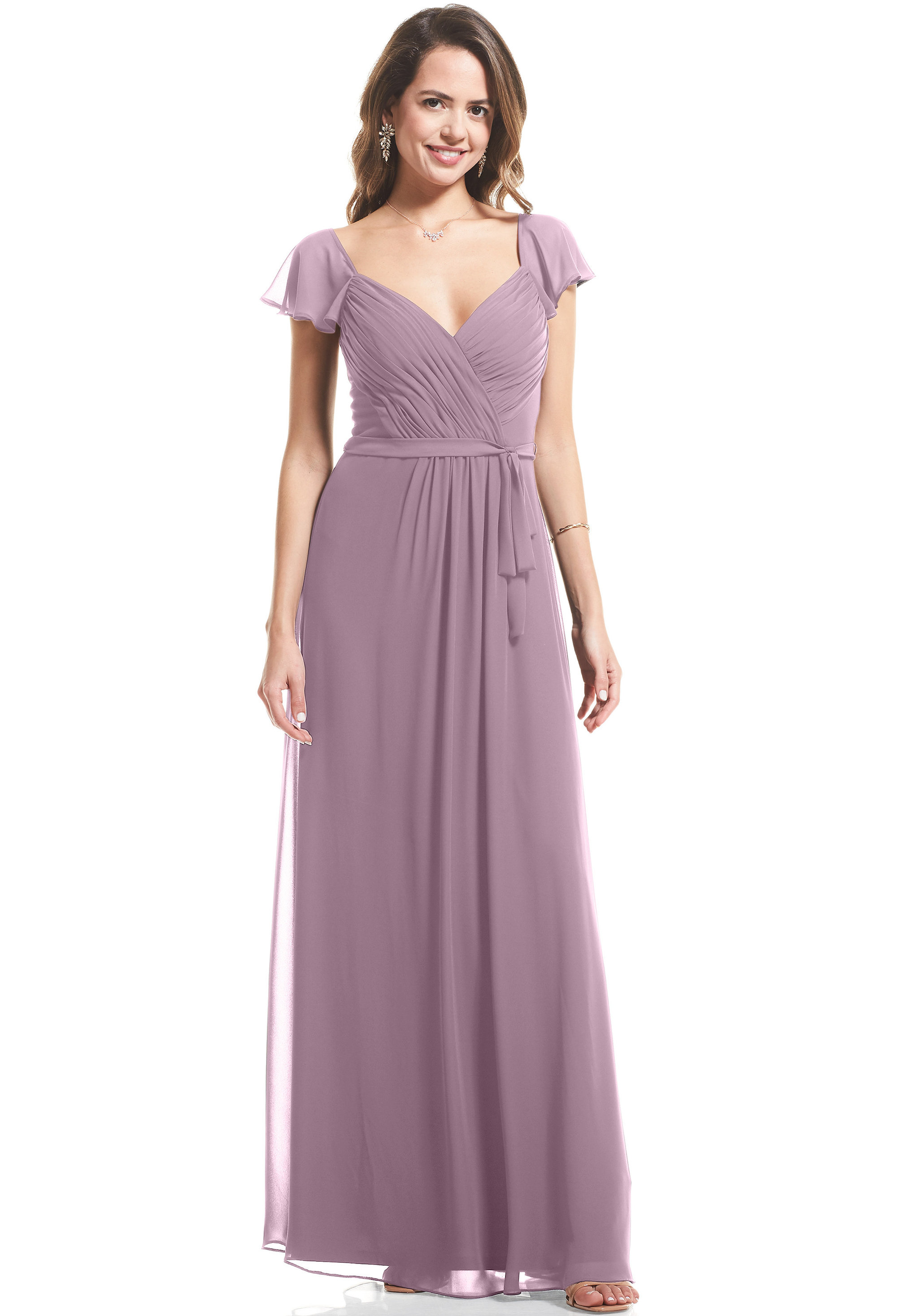 Bill Levkoff HEATHER Chiffon Cap Sleeve A-Line gown, $89.00 Front