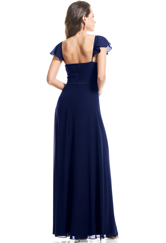 Bill Levkoff MARINE Chiffon Cap Sleeve A-Line gown, $89.00 Back