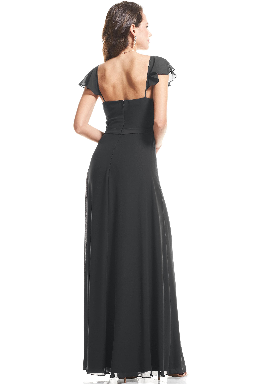 Bill Levkoff CHARCOAL Chiffon Cap Sleeve A-Line gown, $89.00 Back