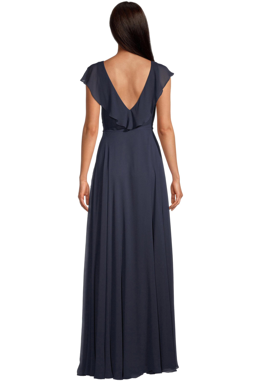 Bill Levkoff NAVY Chiffon V-neck A-line gown, $99.00 Back