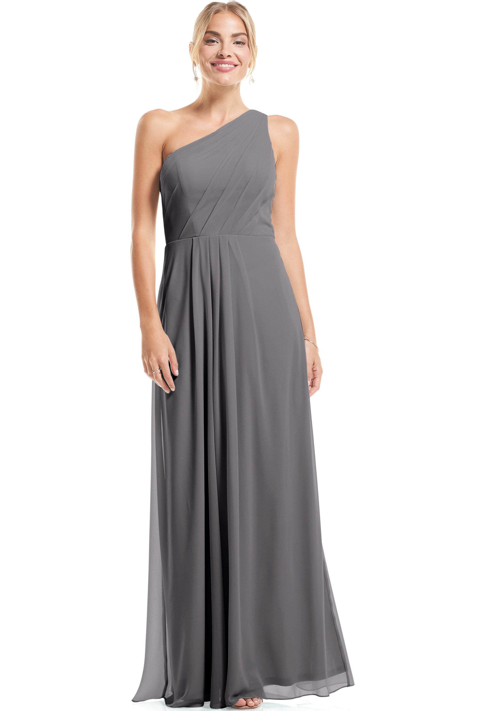 Bill Levkoff PEWTER Chiffon Asymmetrical A-Line gown, $79.00 Front