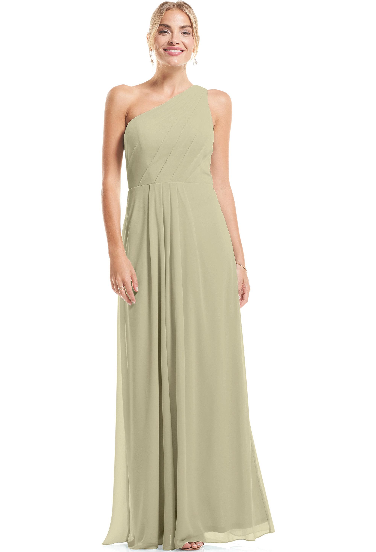 Bill Levkoff PISTACHIO Chiffon Asymmetrical A-Line gown, $79.00 Front