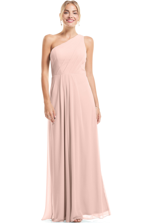 Bill Levkoff SHELL PINK Chiffon Asymmetrical A-Line gown, $79.00 Front