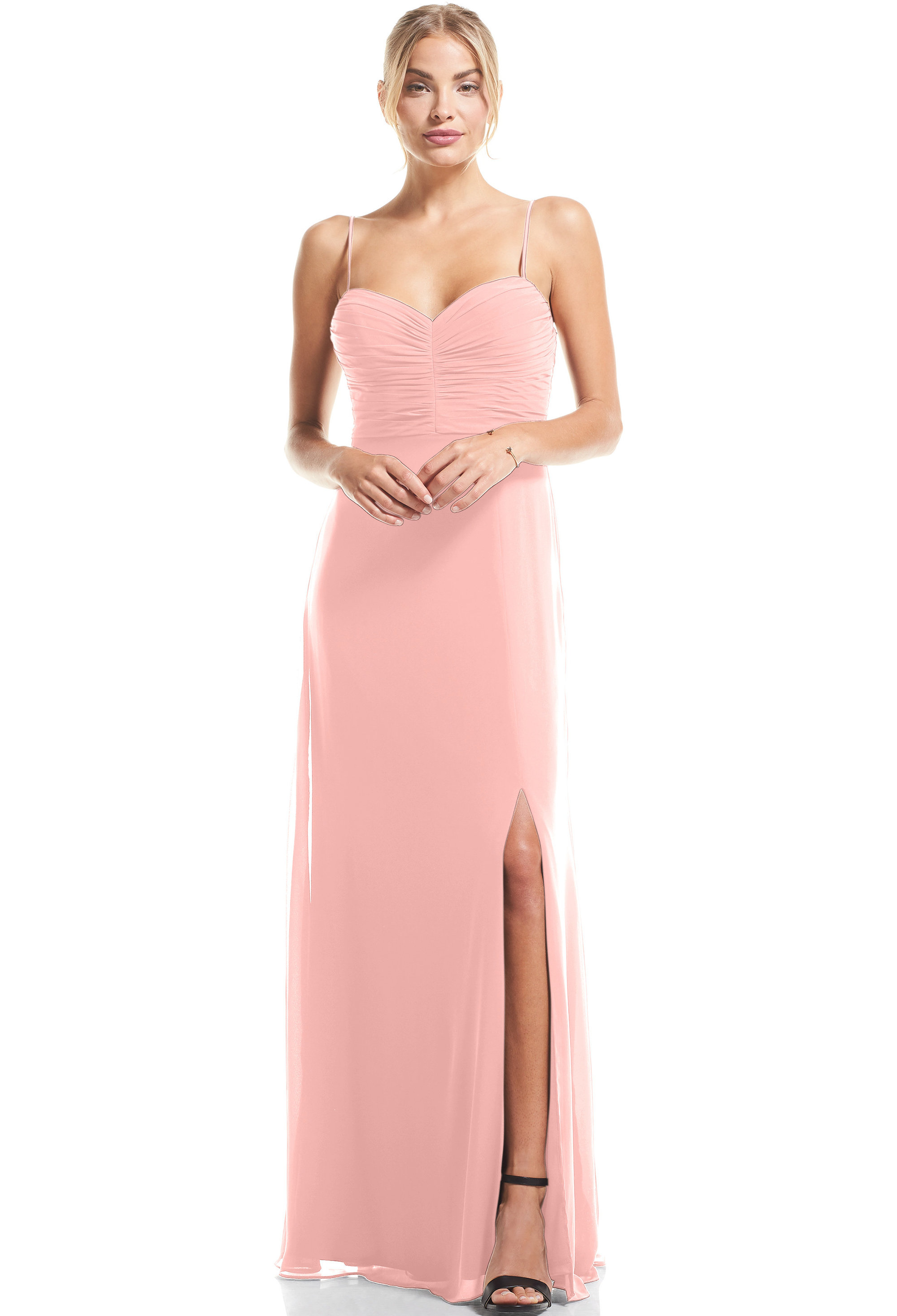 Bill Levkoff FROST ROSE Chiffon Sweetheart A-Line gown, $79.00 Front