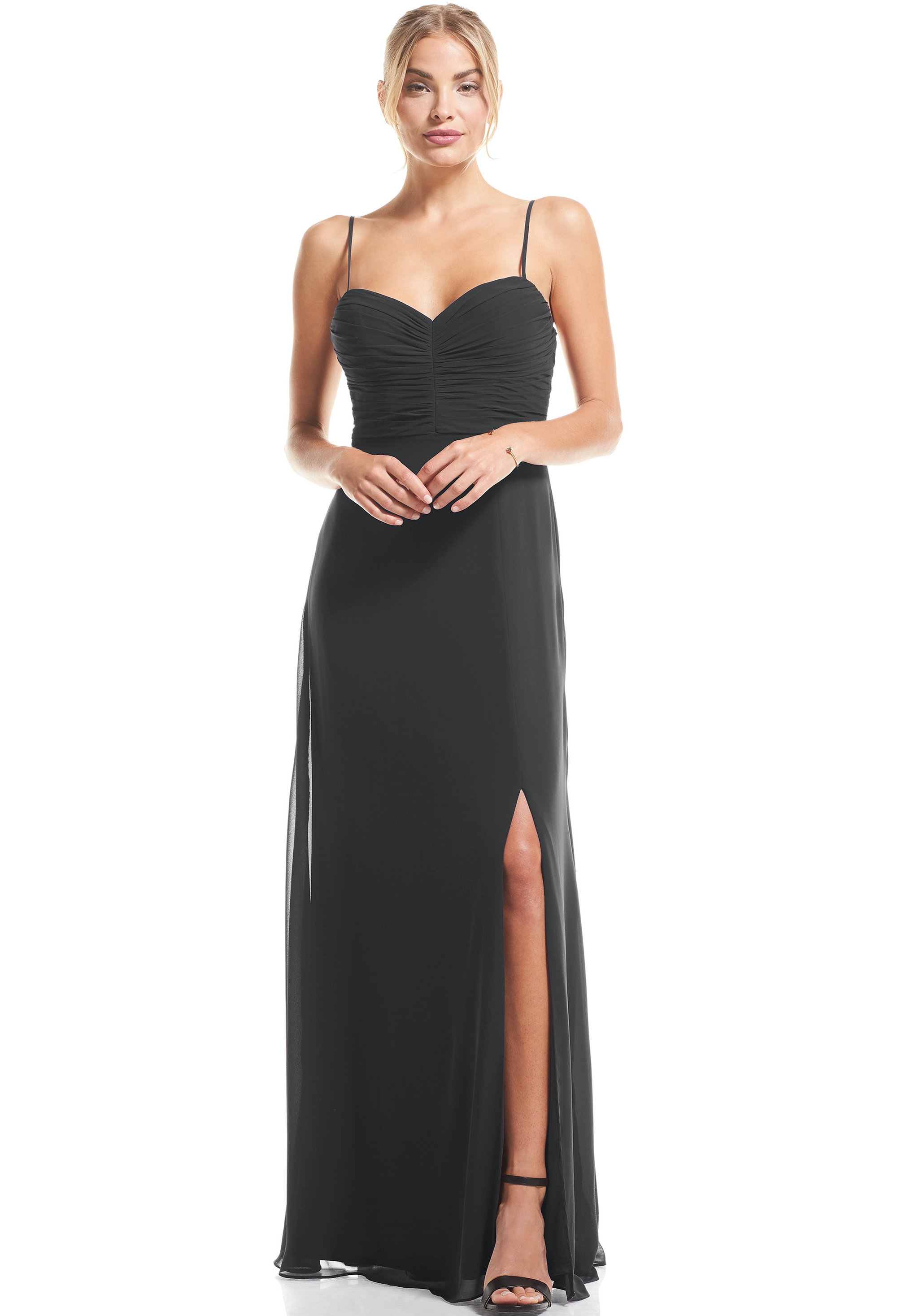 Bill Levkoff CHARCOAL Chiffon Sweetheart A-Line gown, $79.00 Front
