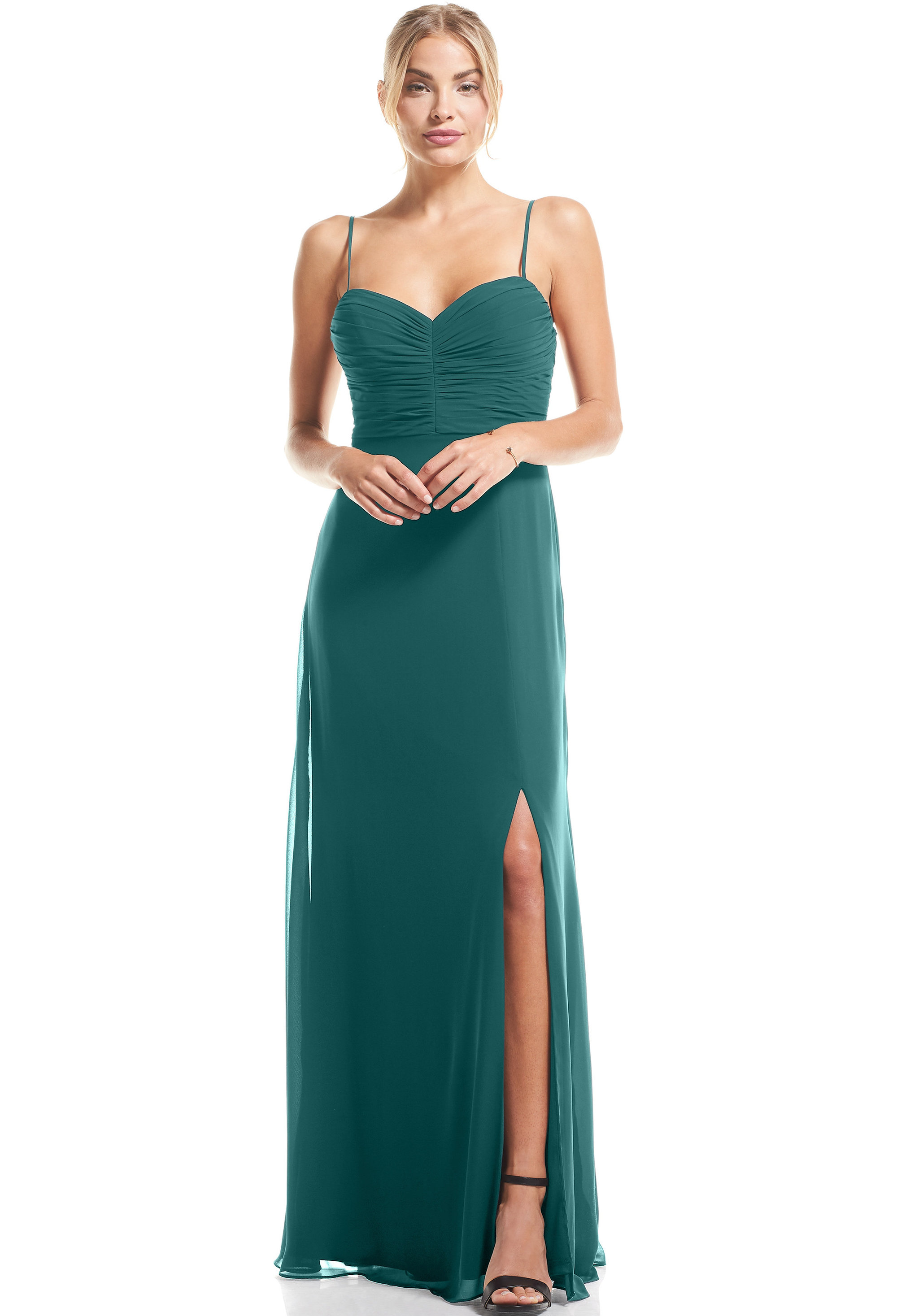 Bill Levkoff OASIS Chiffon Sweetheart A-Line gown, $79.00 Front