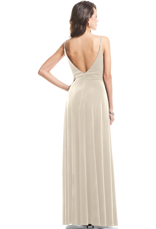 Bill Levkoff CHAMPAGNE Stretch Velvet V-neck A-Line gown, $119.00 Back