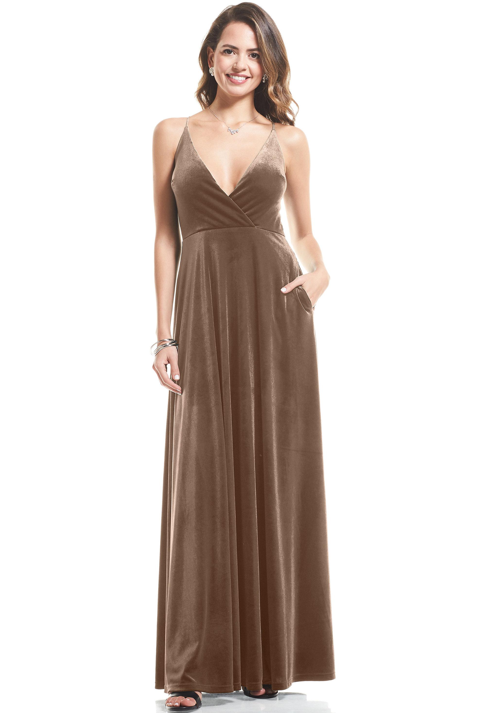 Bill Levkoff CAMEL Stretch Velvet V-neck A-Line gown, $119.00 Front