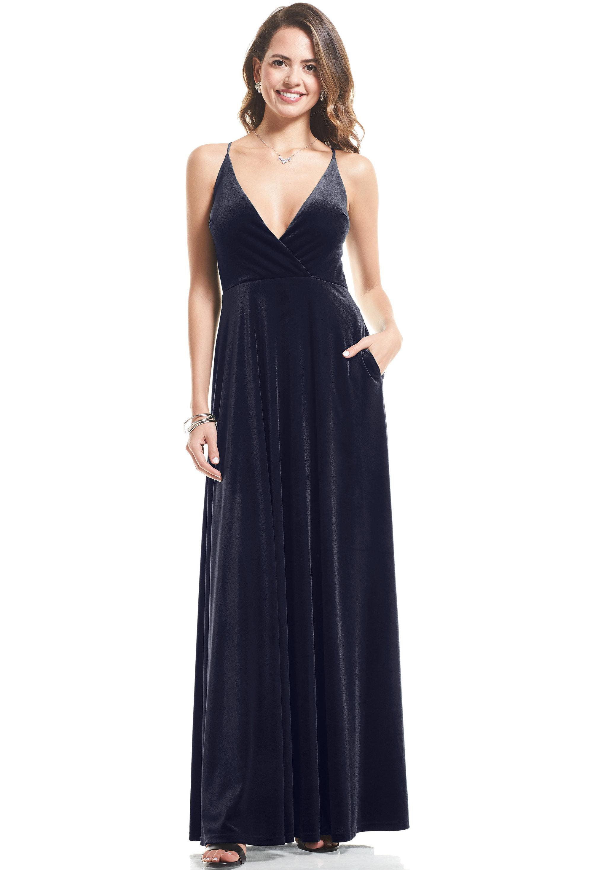 Bill Levkoff MIDNIGHT Stretch Velvet V-neck A-Line gown, $119.00 Front