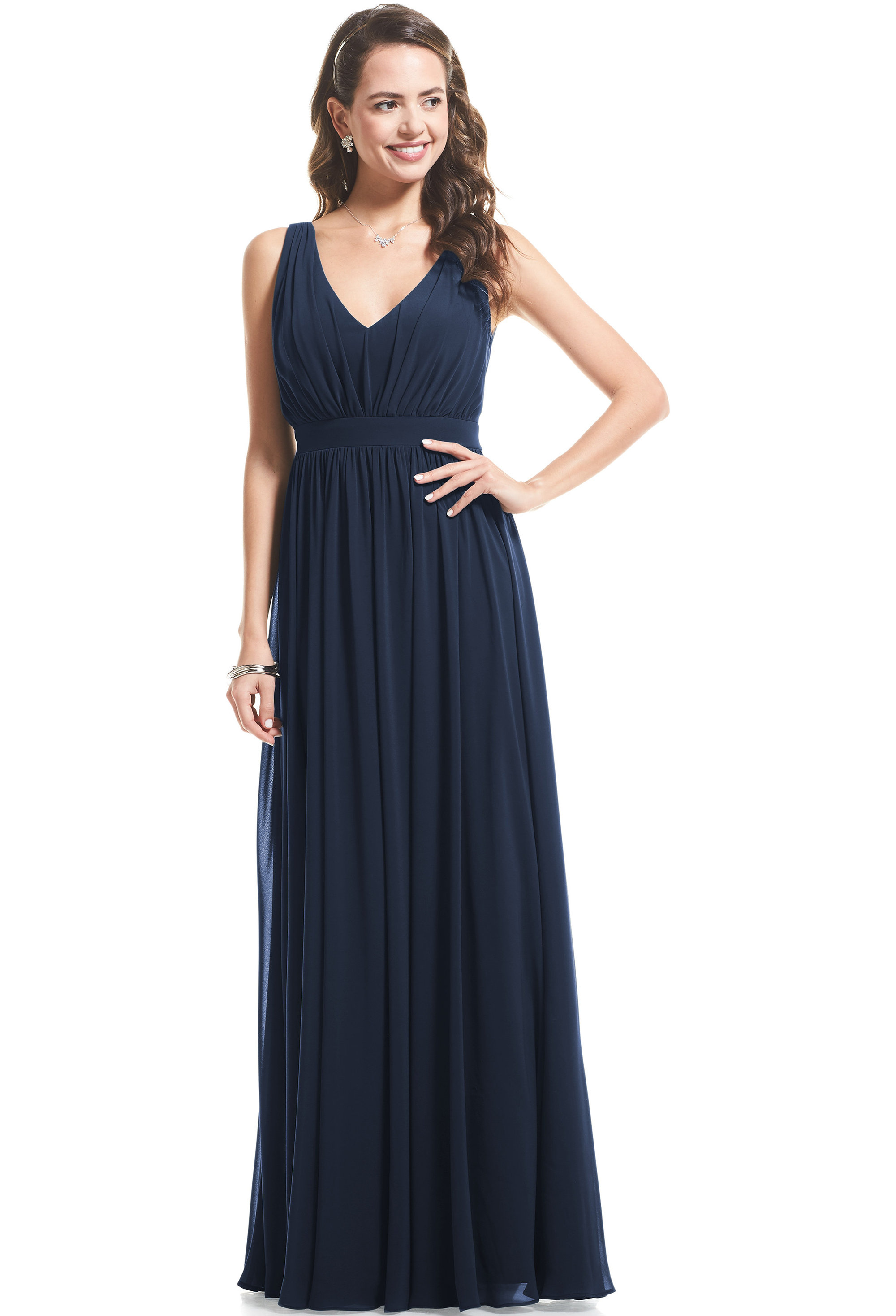 Bill Levkoff NAVY Chiffon V-neck A-Line gown, $89.00 Front