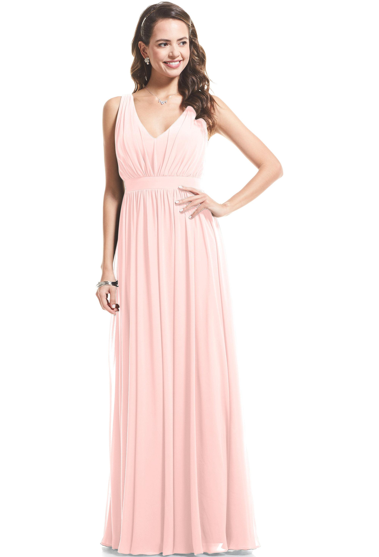 Bill Levkoff PETAL PINK Chiffon V-neck A-Line gown, $89.00 Front