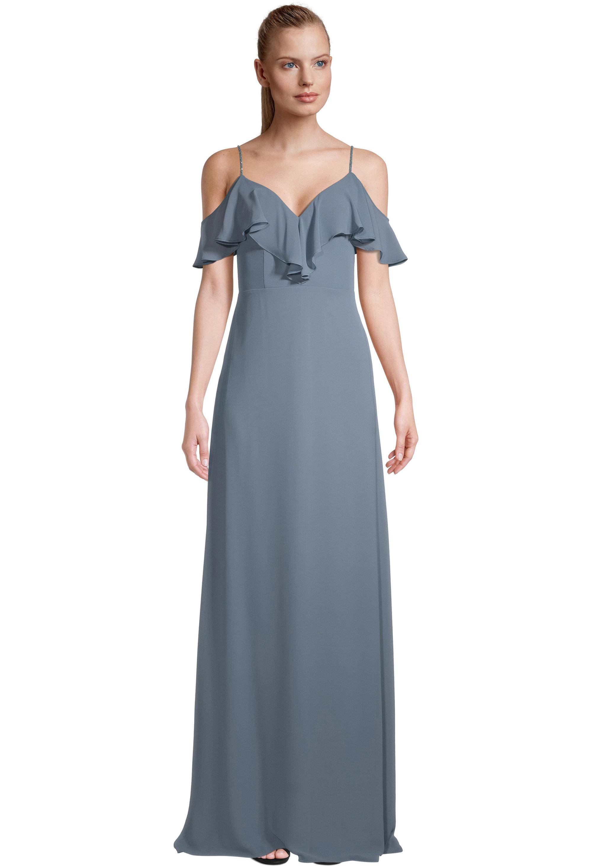 Bill Levkoff SLATE Chiffon Sweetheart A-line gown, $99.00 Front