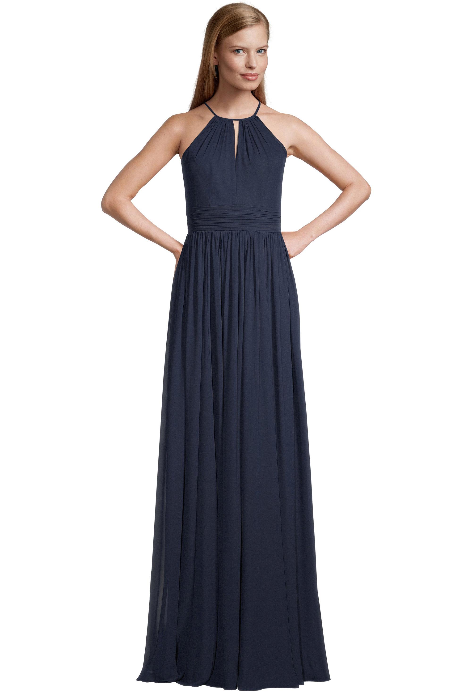 Bill Levkoff NAVY Chiffon Halter A-line gown, $99.00 Front
