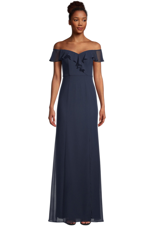 Bill Levkoff NAVY Chiffon Sweetheart Straight skirt gown, $99.00 Front