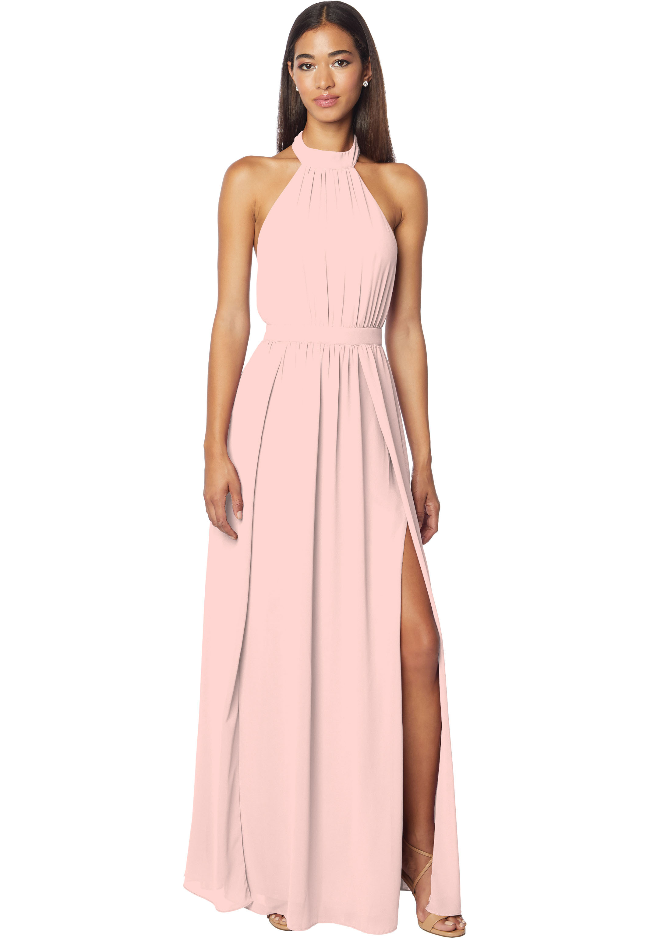 Bill Levkoff FROST ROSE Chiffon Halter A-line gown, $178.00 Front