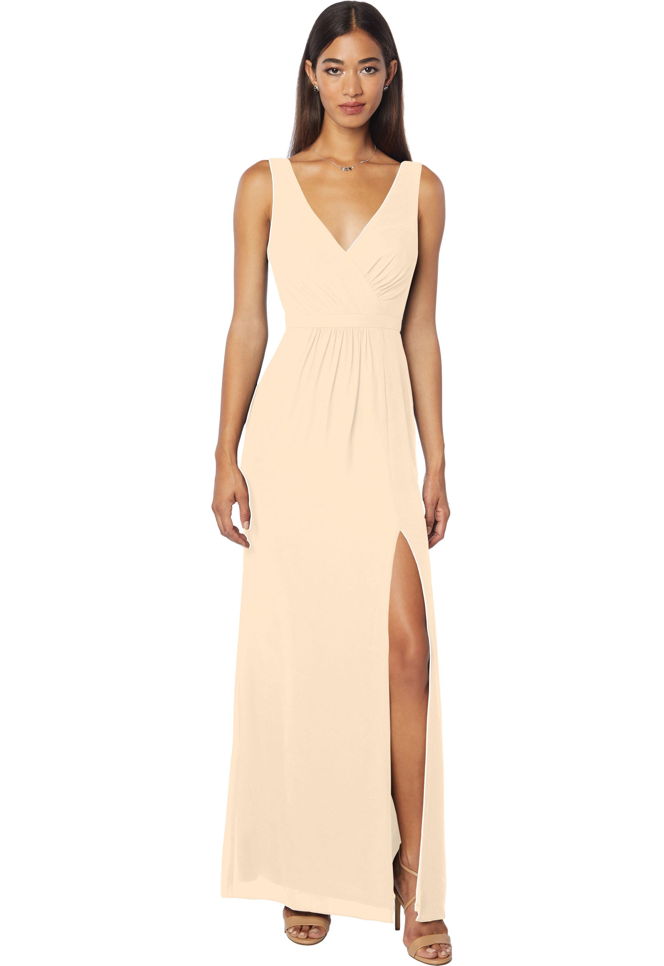 Bill Levkoff CHAMPAGNE Chiffon Sleeveless Natural Waist gown, $178.00 Front