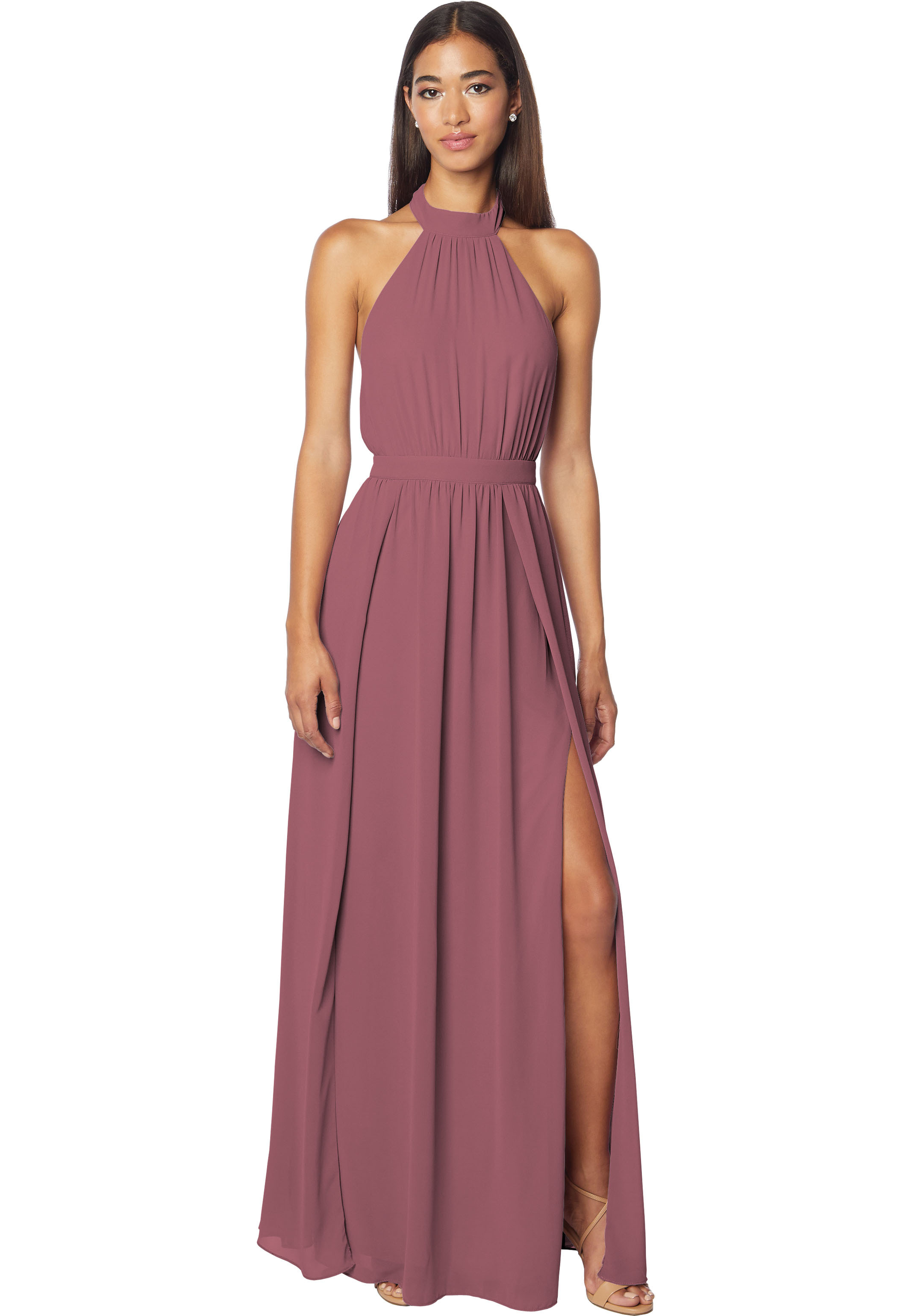 Bill Levkoff ROSEWOOD Chiffon Halter A-line gown, $178.00 Front