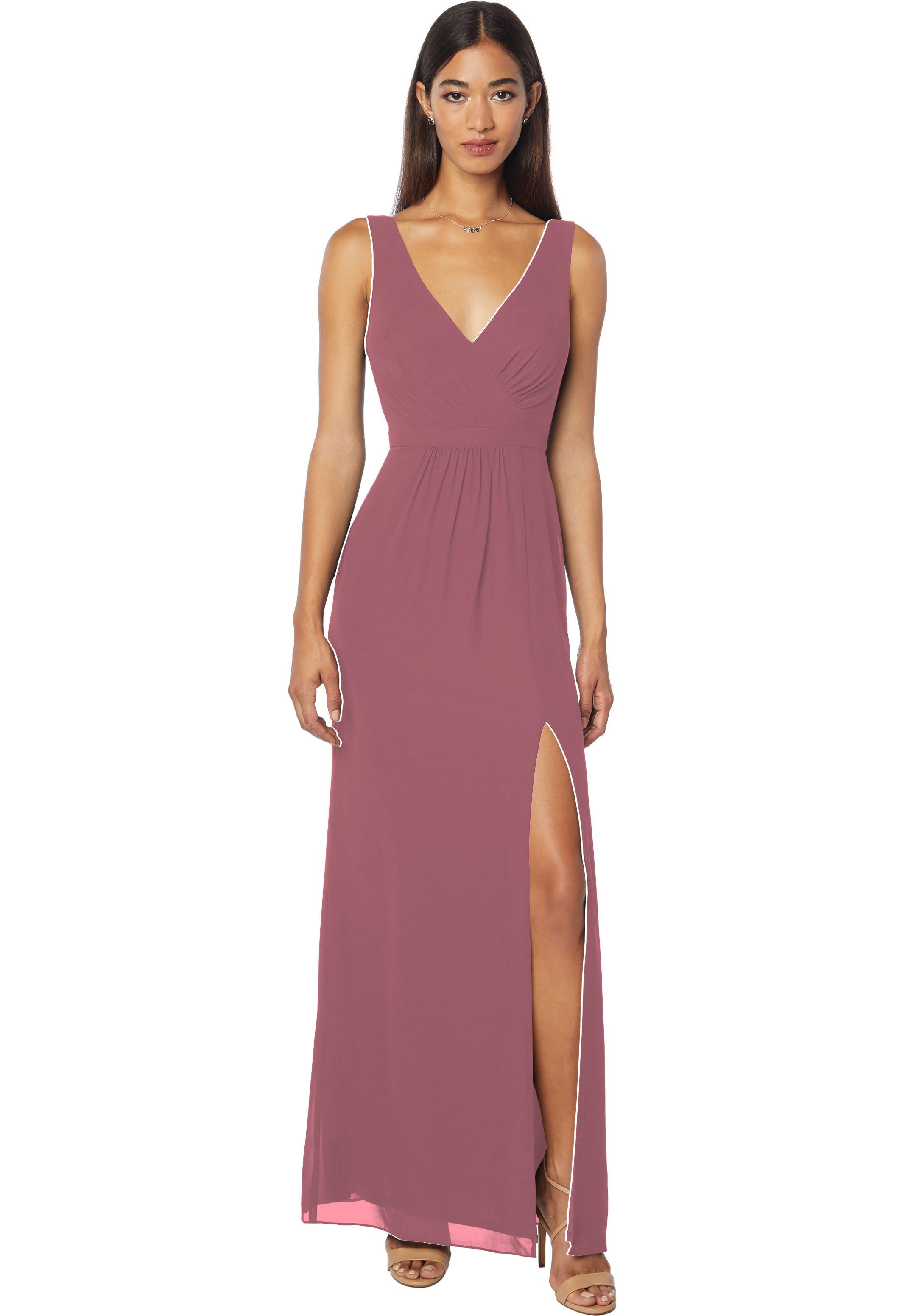Bill Levkoff ROSEWOOD Chiffon Sleeveless Natural Waist gown, $178.00 Front