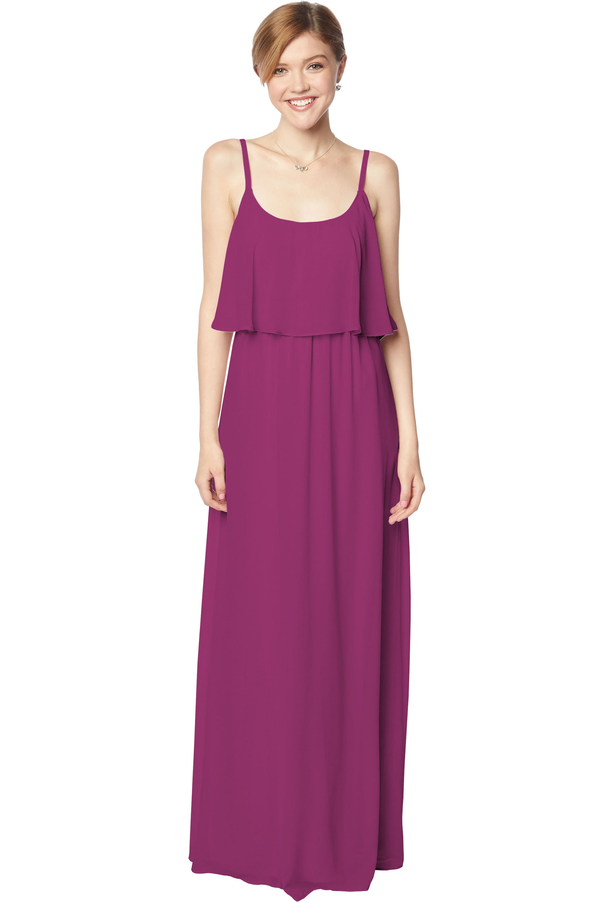 Bill Levkoff SANGRIA Chiffon Scoop A-line gown, $170.00 Front