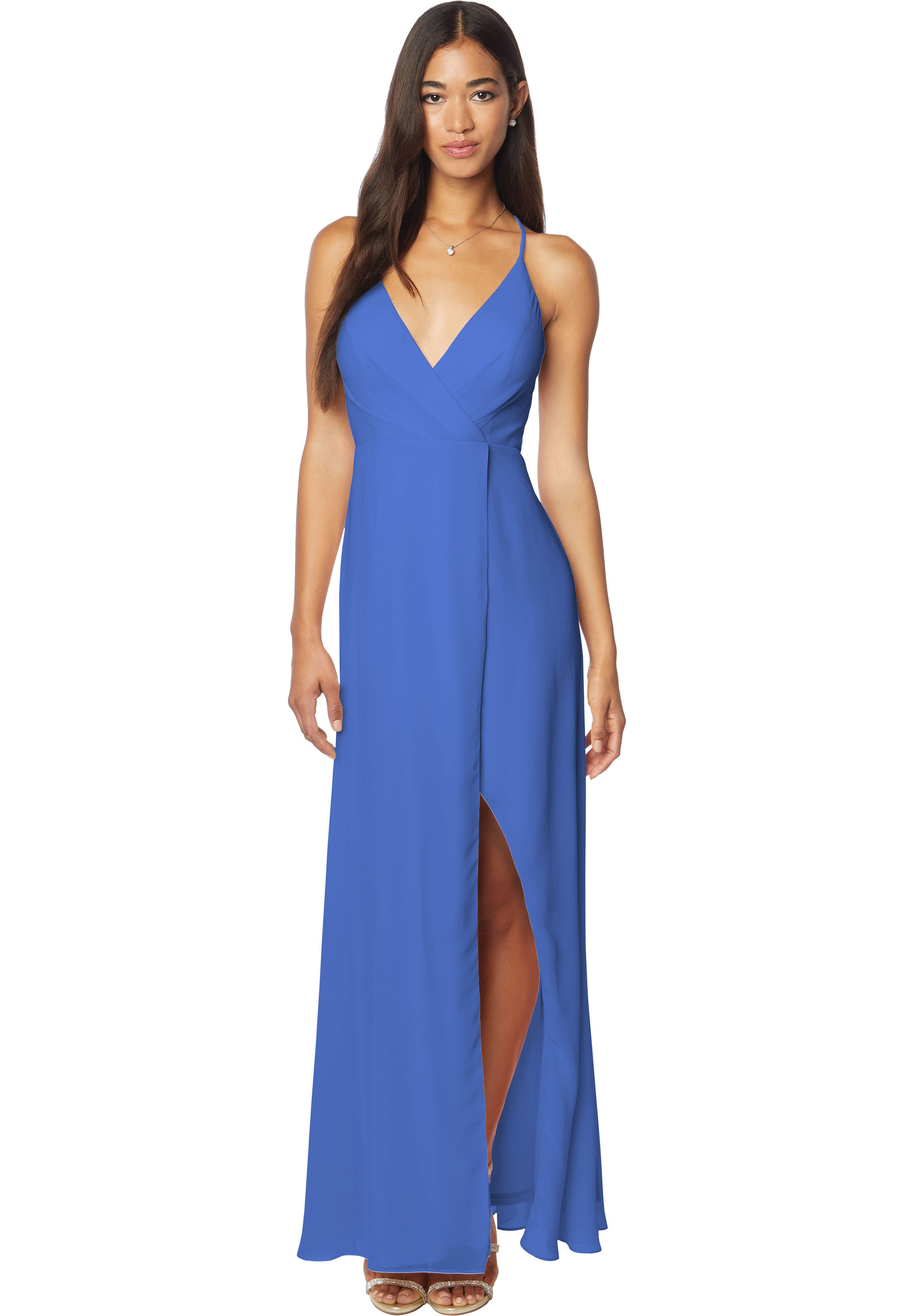 Bill Levkoff HORIZON Chiffon V-neck A-line gown, $170.00 Front