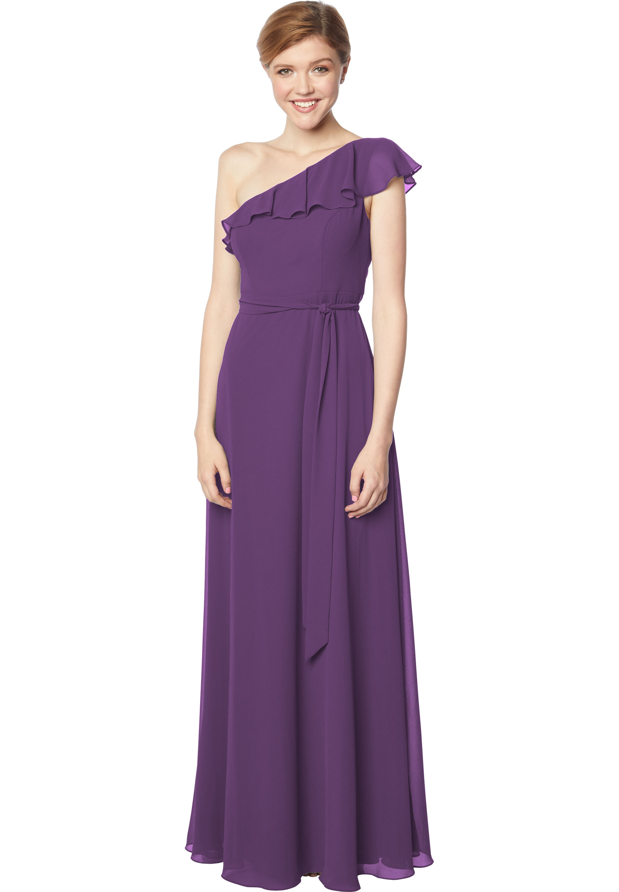 Bill Levkoff PURPLE Chiffon One Shoulder A-line gown, $178.00 Front