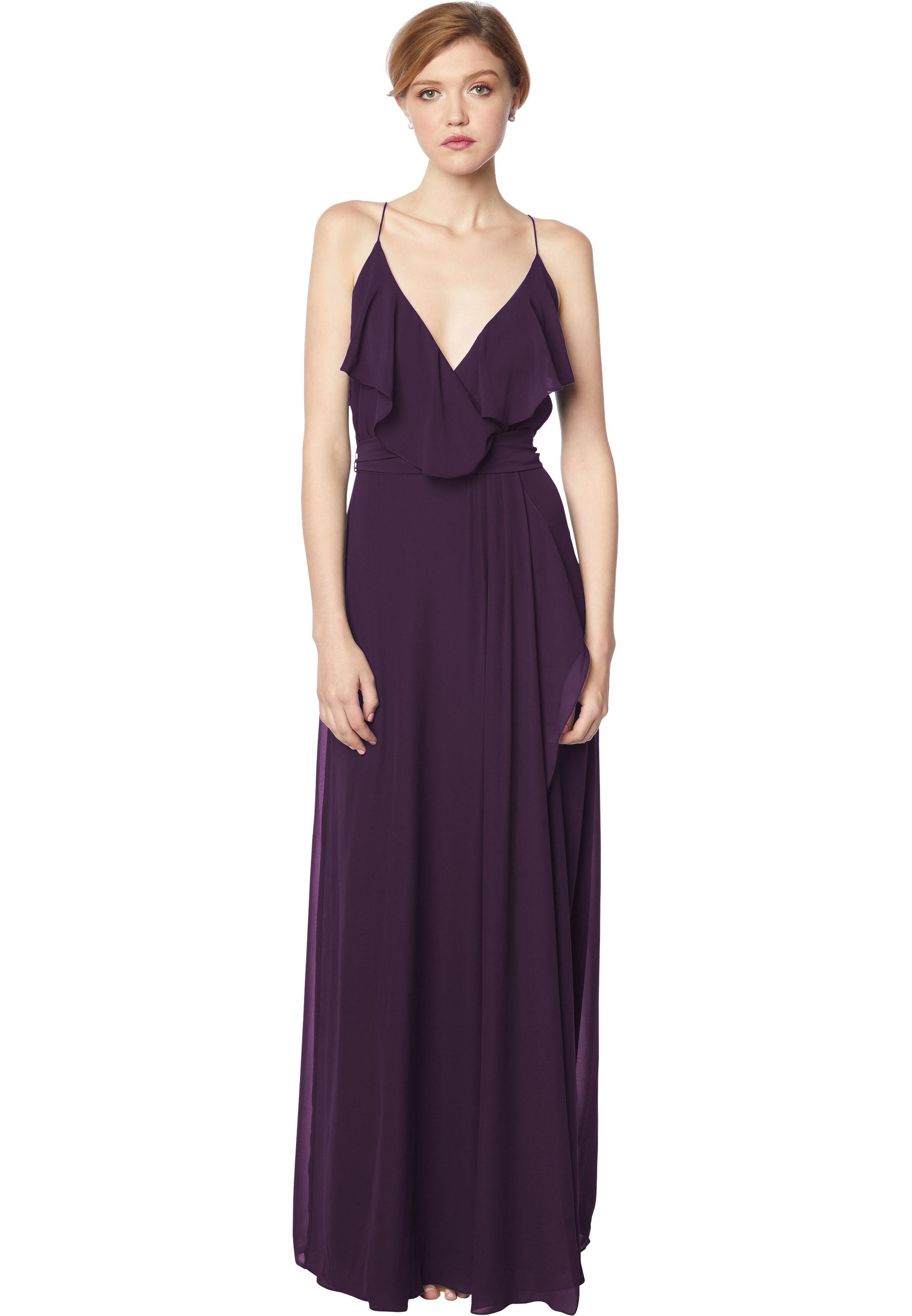 Bill Levkoff PLUM Chiffon V-neck A-line gown, $176.00 Front