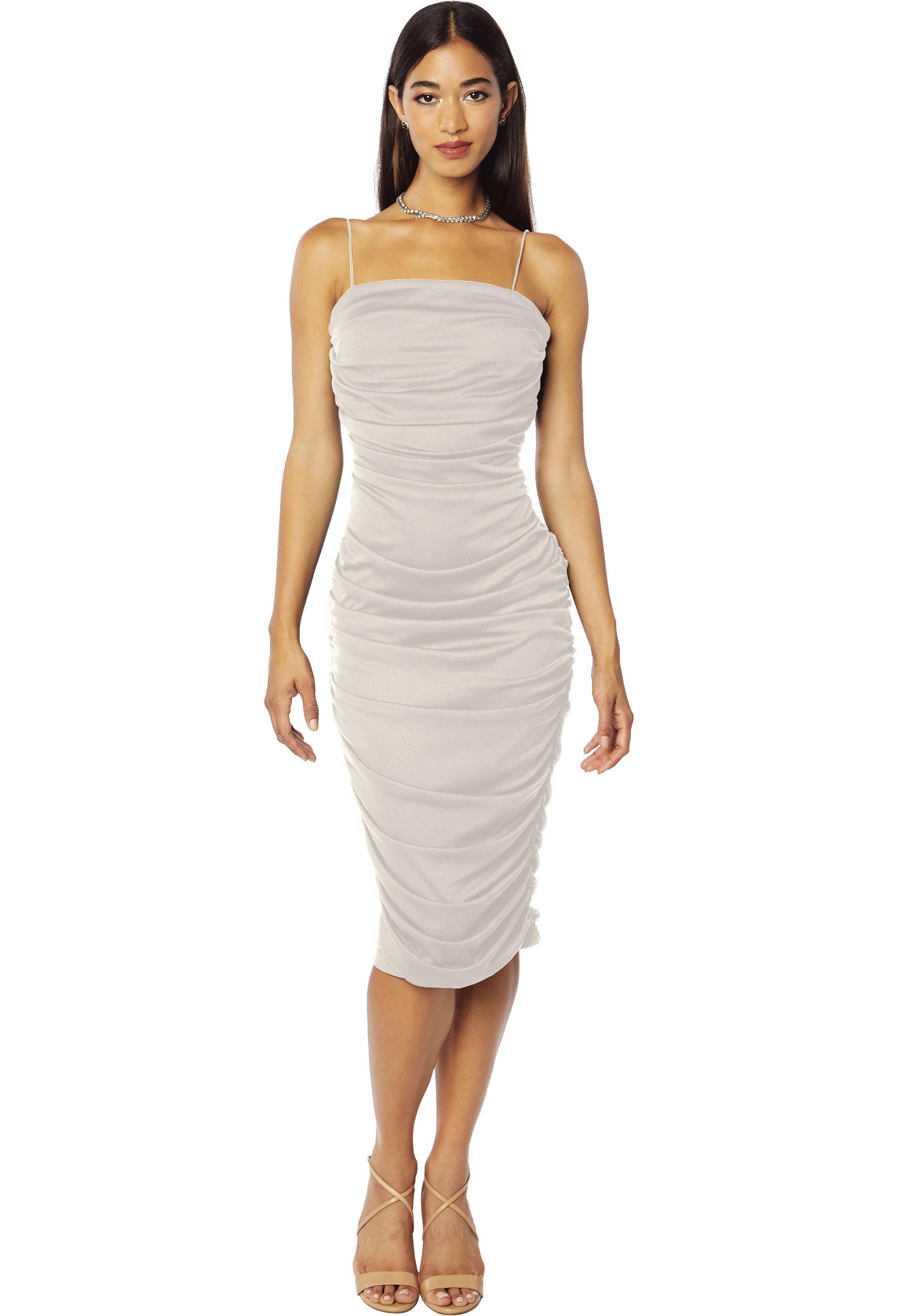 Bill Levkoff DESERT GREY Chiffon Square  gown, $138.00 Front