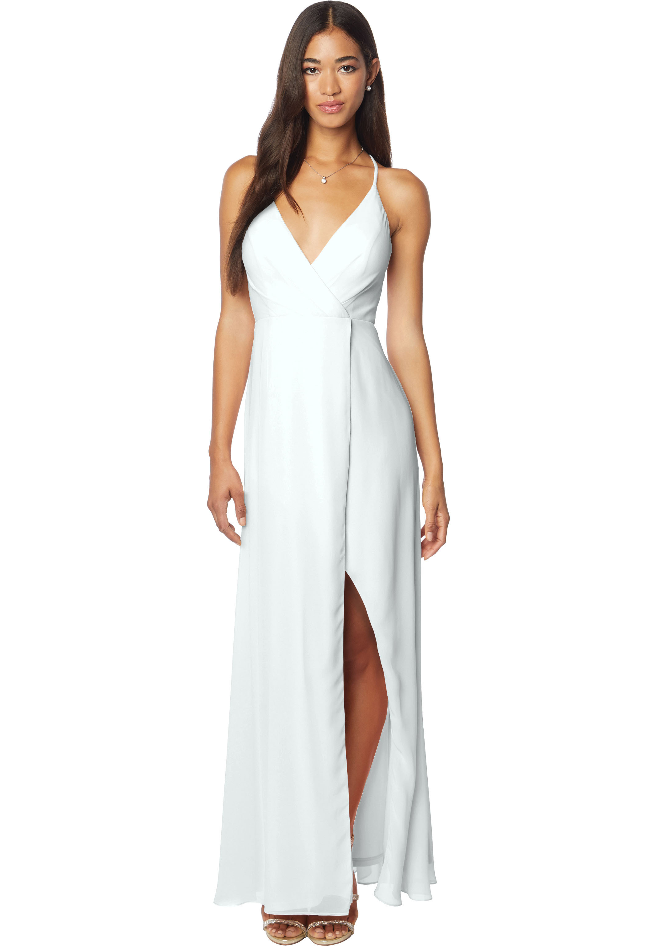 Bill Levkoff MIST Chiffon V-neck A-line gown, $170.00 Front