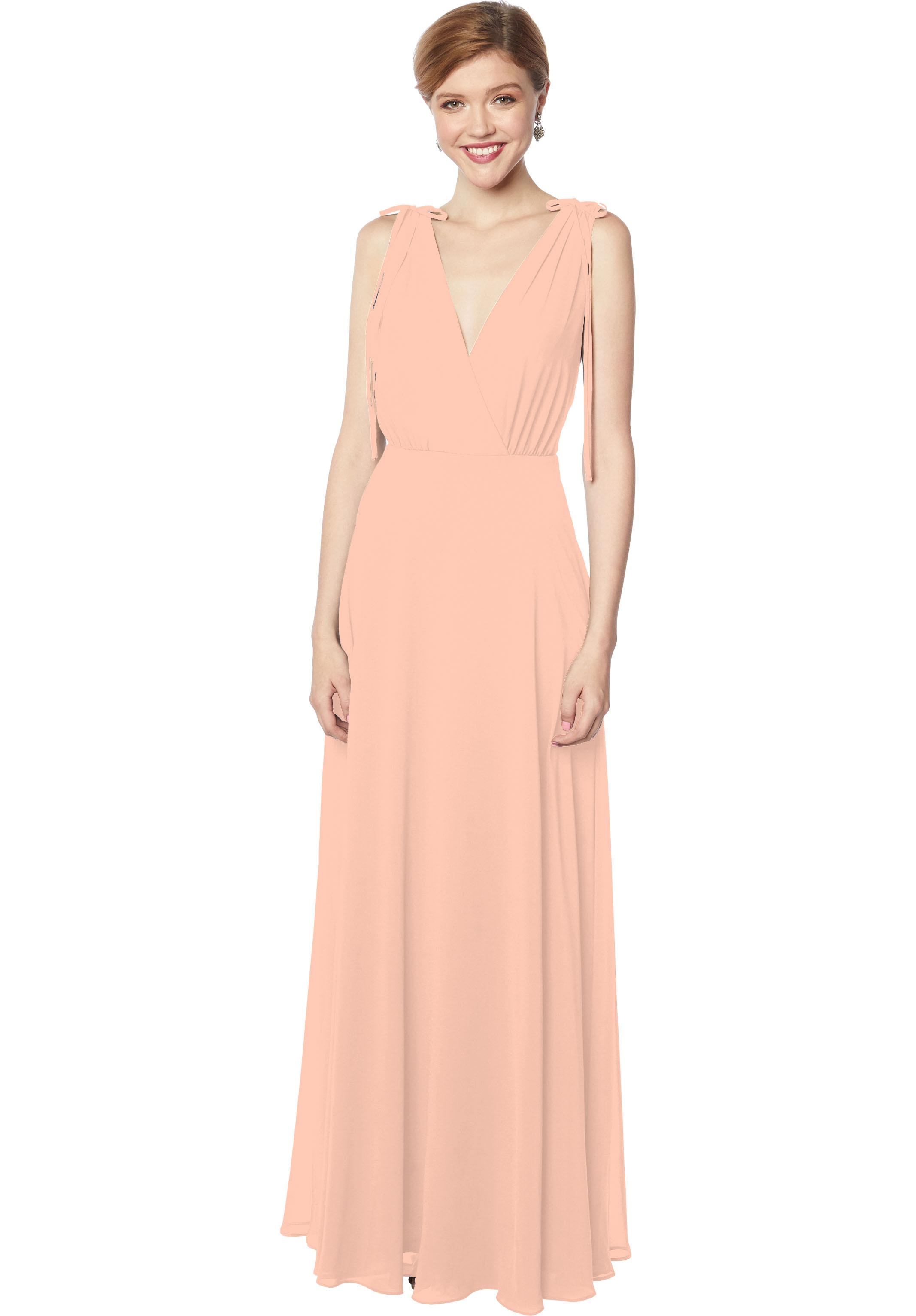 Bill Levkoff PEACH Chiffon Sleeveless A-line gown, $178.00 Front