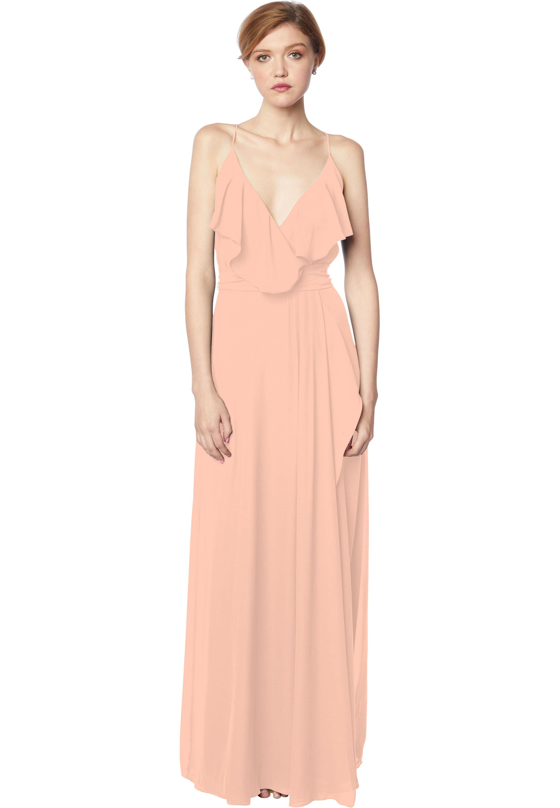 Bill Levkoff PEACH Chiffon V-neck A-line gown, $176.00 Front