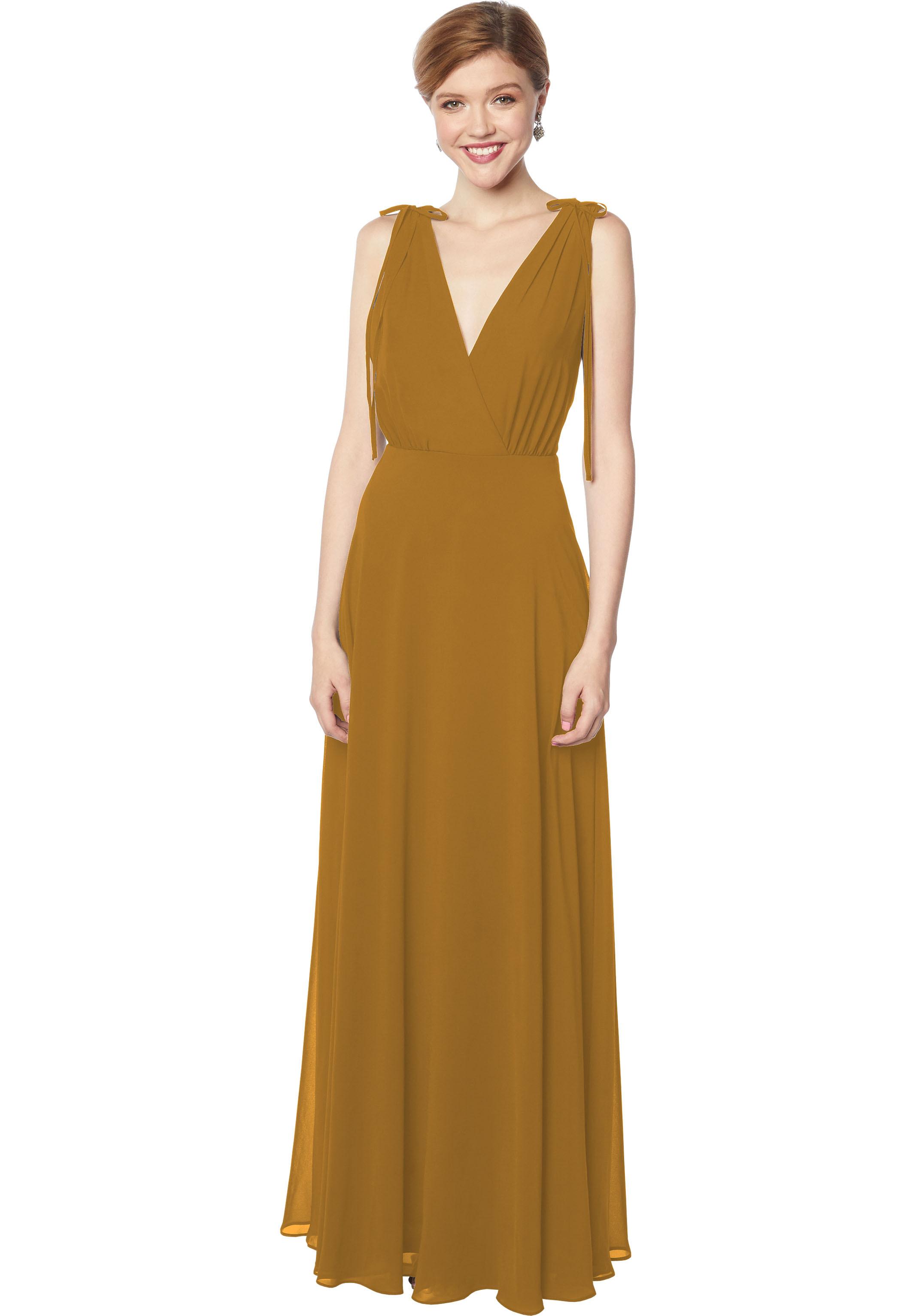 Bill Levkoff GOLD Chiffon Sleeveless A-line gown, $178.00 Front