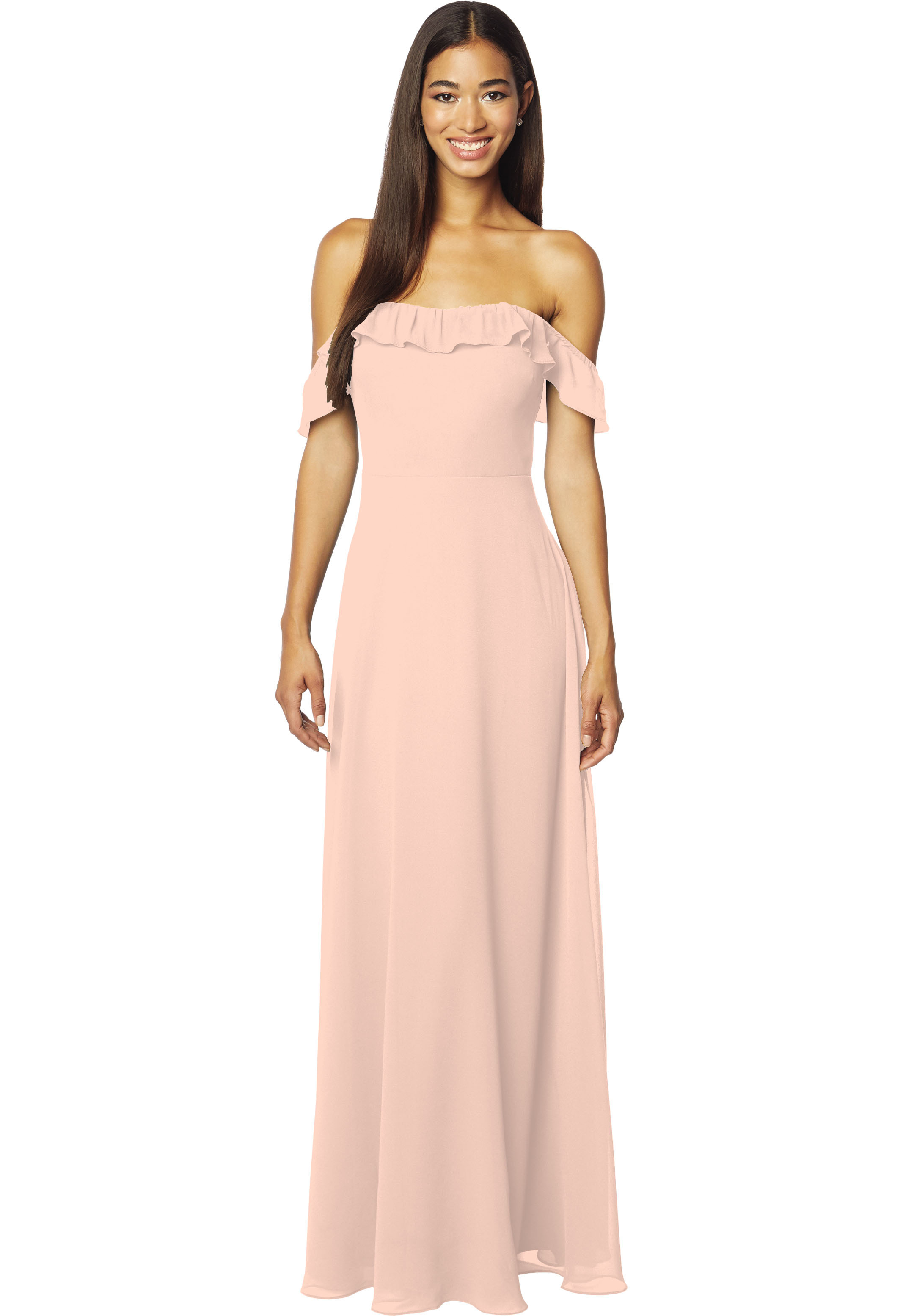Bill Levkoff PETAL PINK Chiffon Off The Shoulder A-line gown, $178.00 Front