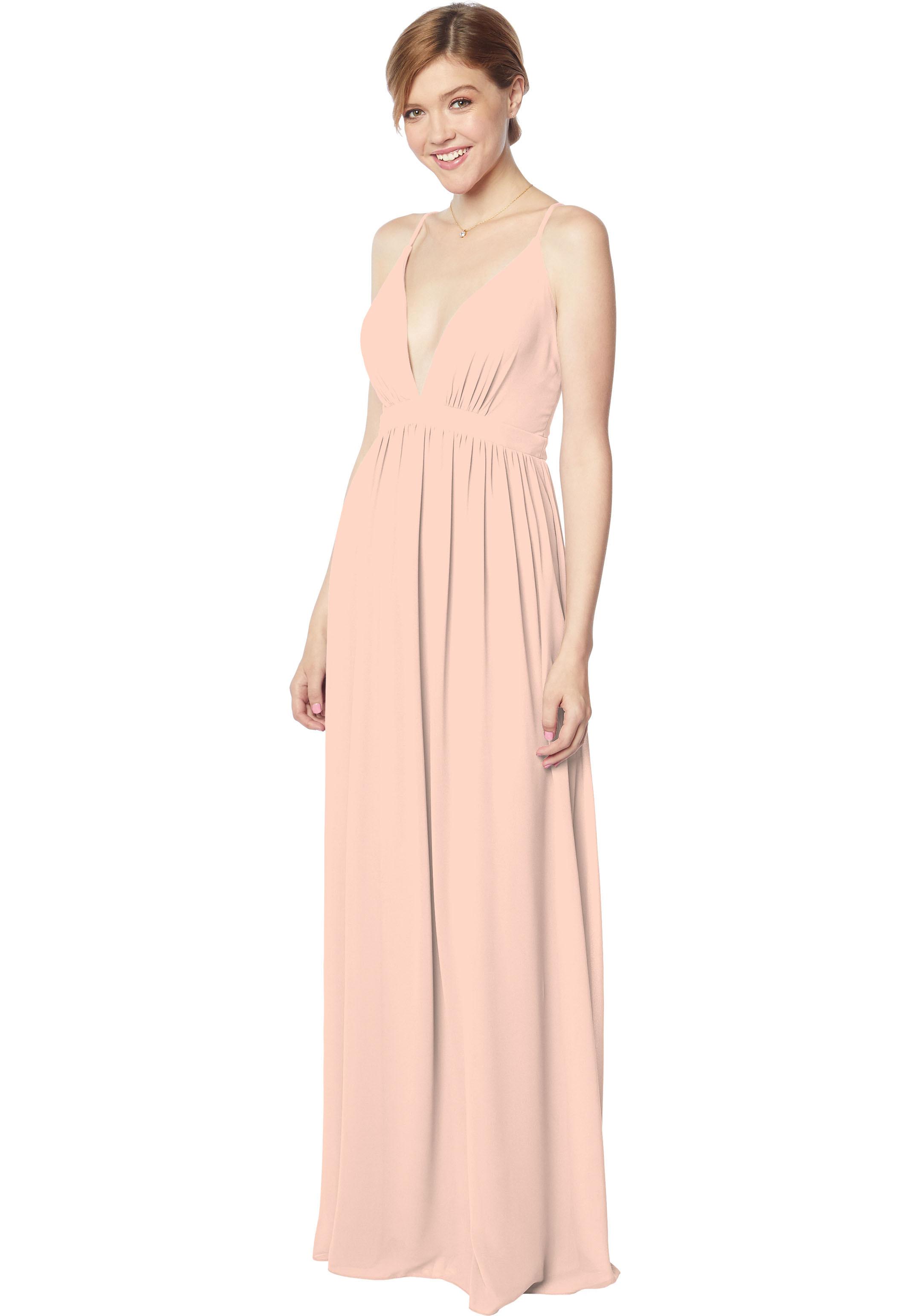 Bill Levkoff PETAL PINK Chiffon V-neck A-line gown, $170.00 Front