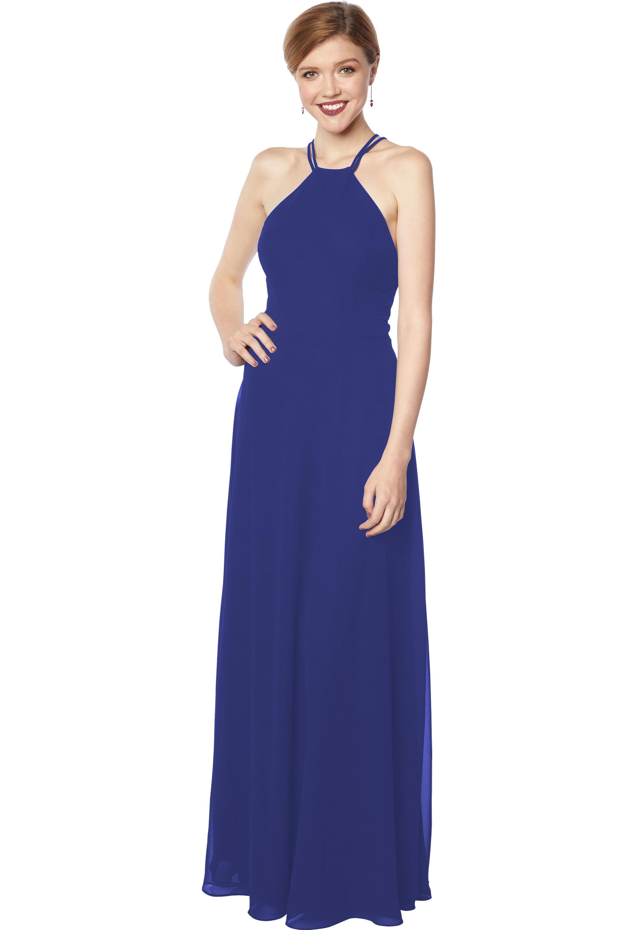 Bill Levkoff MARINE Chiffon Sleeveless A-line gown, $178.00 Front