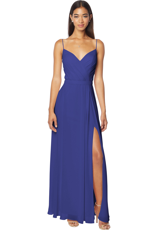 Bill Levkoff MARINE Chiffon V-neck A-line gown, $170.00 Front